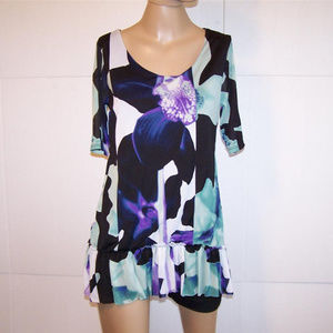 STYLE & CO Tunic Top M Nylon Stretch Lined Ruffled
